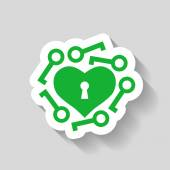 Heart with keys icon — Stock Vector