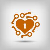 Pictograph of heart with keys icon — Stock Vector