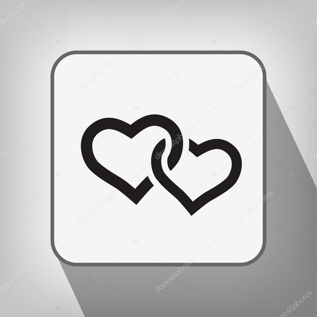 两颗心矢量图标的象形文– 图库插图