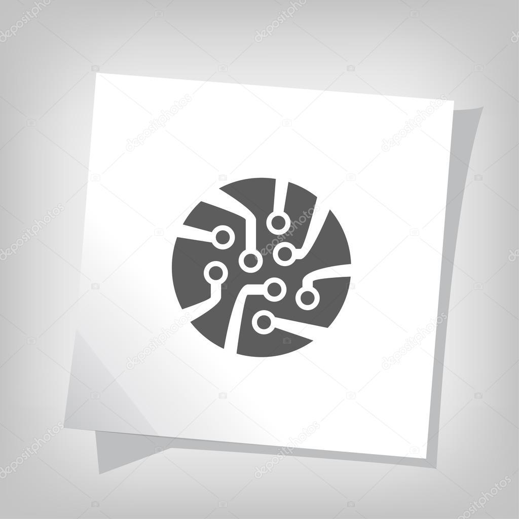 象形文的电路板矢量图标– 图库插图