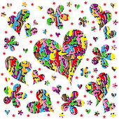 Abstract background with hearts and flowers — Cтоковый вектор