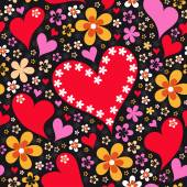 Abstract seamless pattern with hearts and flowers — Vettoriale Stock