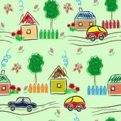 Sityscape seamless background with houses, trees and cars — Stock Vector