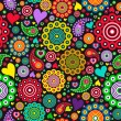 Colorful seamless pattern with circles and hearts on black background — ストックベクタ #64053561