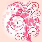 цветочный фон с розовыми сердцами — Cтоковый вектор