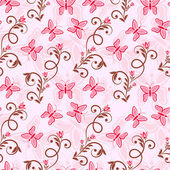 Seamless background with pink butterflies — Stockvector