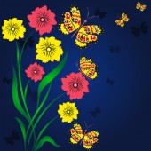 Summer background with night butterflies — Stock Vector