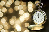 New year clock at midnight — Stock Photo