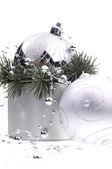серебряные украшения рождества — Стоковое фото