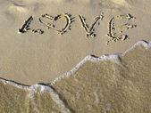 Srdce v písku — Stock fotografie