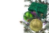 Zelený vánoční dárek — Stock fotografie