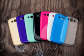 Plastic mobile phone cases — Stockfoto