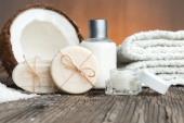Bars of soap,coconut and face cream — Stock Photo