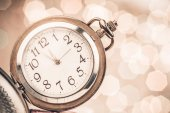 New year clock on abstract background — Stock Photo