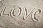 Love message on sand — Stock Photo