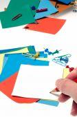 Note di carta in diversi colori — Foto Stock