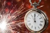 Año nuevo reloj de antecedentes — Foto de Stock