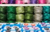 Skeins of colorful yarn — Stock Photo