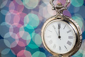 New year clock on abstract background — Foto de Stock
