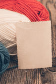Yarn for knitting and  label — Stock Photo