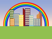 Rainbow in the city — Stock Vector