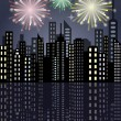 Fireworks in the city — Stock Vector #53102189