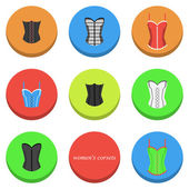 Women's corsets icons — Stock Vector