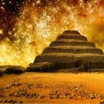Step pyramid and the Tarantula Nebula (Elements of this image fu — Stock Photo #59543253