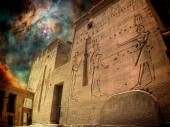 Isis Temple and Orion Nebula (Elements of this image furnished b — Stock Photo