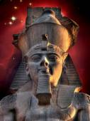 Colossus of Ramses II and Cone Nebula (Elements of this image fu — Fotografia Stock
