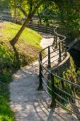 Benches and footpath for a walk — Stock Photo