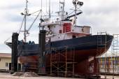 Fishing boat in a shipyard for maintenance — Stock Photo