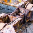 Rusty machinery of a old shipyard ramp disused — Stock Photo #71963241