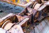 Rusty machinery of a old shipyard ramp disused — Stock Photo
