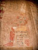 Colored reliefs at the Temple of Hatshepsut at Deir el-Bahari (E — Stock Photo