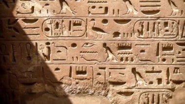 Hieroglyfy u chrámu Karnak v Luxoru (Egypt) — Stock video