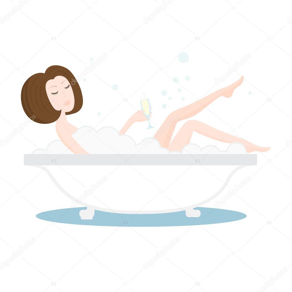 Девушки ванной с шампанским фото
