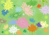 Multi-colored flowers on a green background, with varying degree — Stock Vector