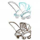 Separate retro stroller made in the thumbnail style — Stock Vector