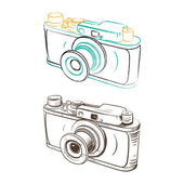 Mechanical retro camera made in the thumbnail style — Stock Vector