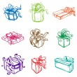 Set of colorful gift packages with various ornaments and picture — Stock Vector #64434985