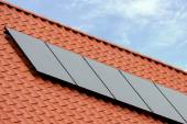 Flat plate solar thermal collectors — Stock Photo
