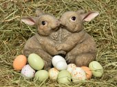 Easter bunnies and eggs — Stock Photo