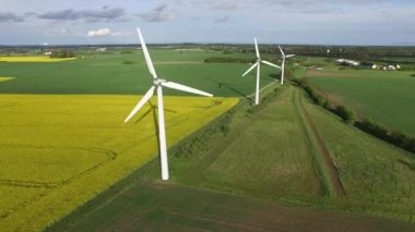 Aerial view of wind turbines — Stock Video