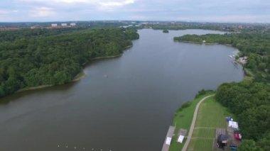 Aerial view of Bagsvaerd lake, Denmark — Stock Video