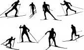 Silhouette ski run — Stockvektor
