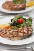 Grilled salmon steak with shrimps — Stock Photo