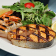Grilled salmon steak with shrimps — Stock Photo #51880003