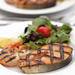 Grilled salmon steak with shrimps — Stock Photo #51880009