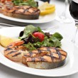 Grilled salmon steak with shrimps — Stock Photo #51880011
